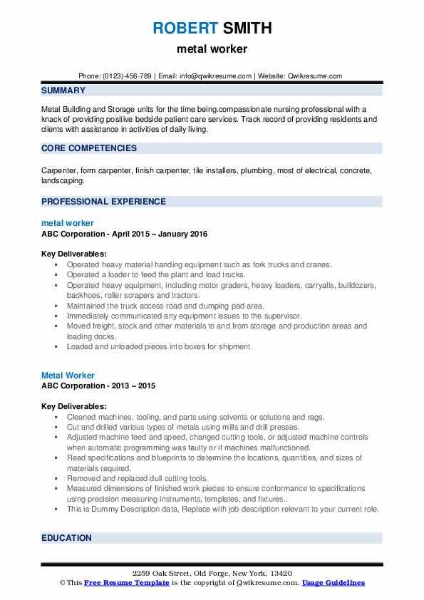 Metal Worker Resume example