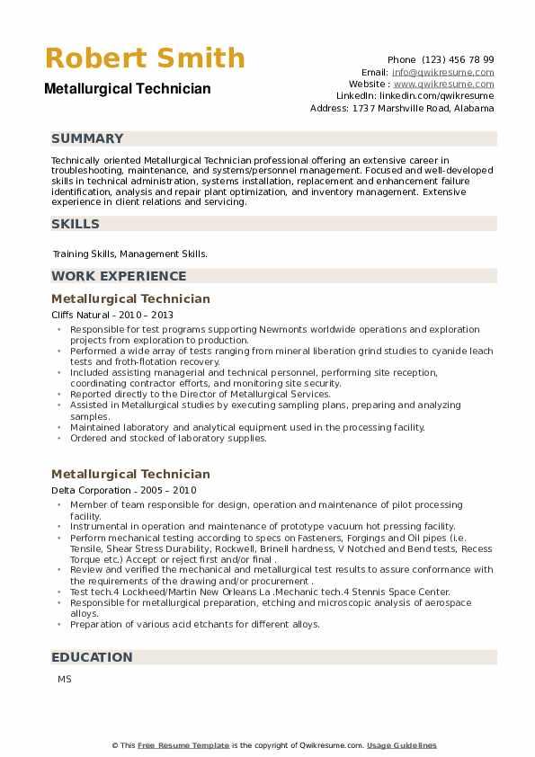 Metallurgical Technician Resume example