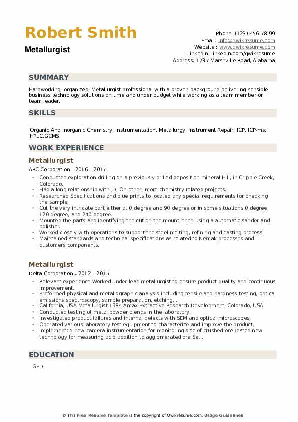 Metallurgist Resume example