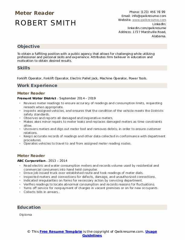 utility meter reader resume