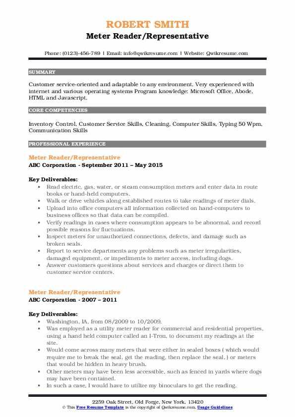 meter reader resume samples