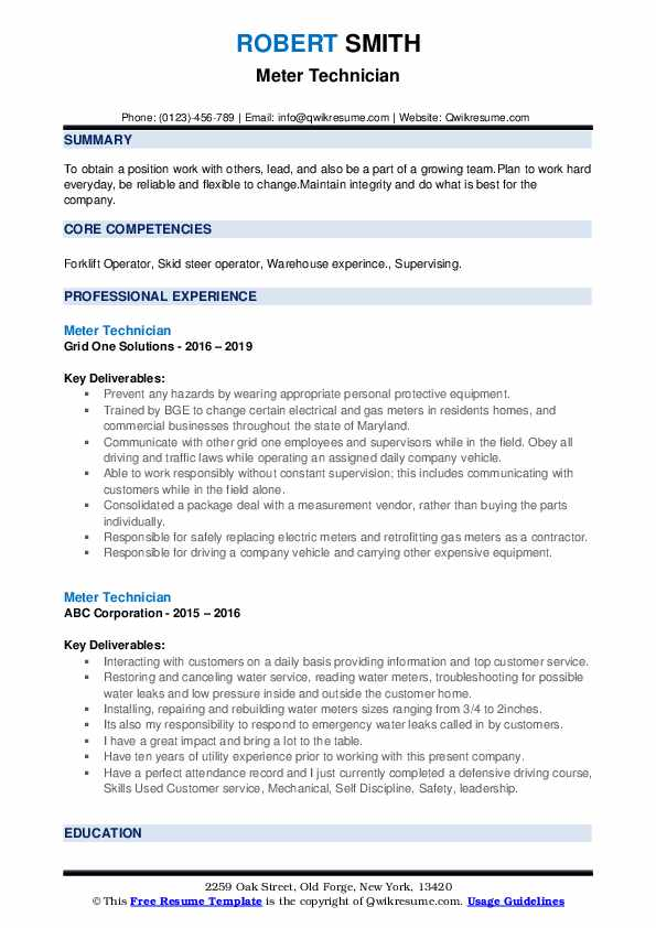 Meter Technician Resume Template