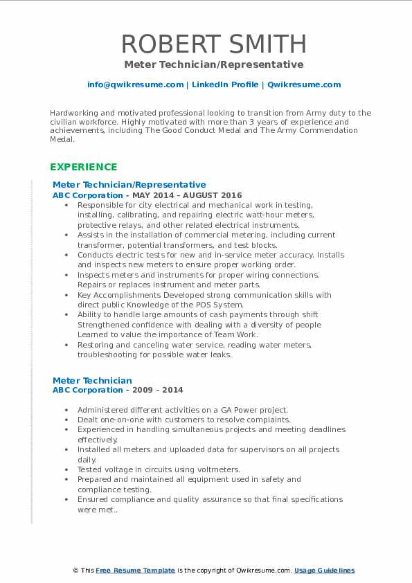 Meter Technician/Representative Resume Sample