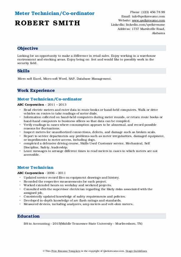 Meter Technician/Co-ordinator Resume Format