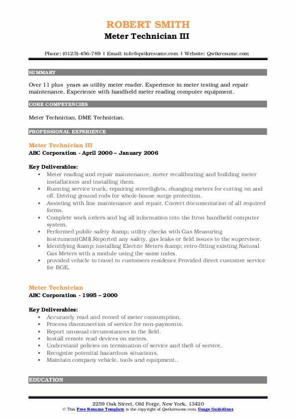 Meter Technician III  Resume Template