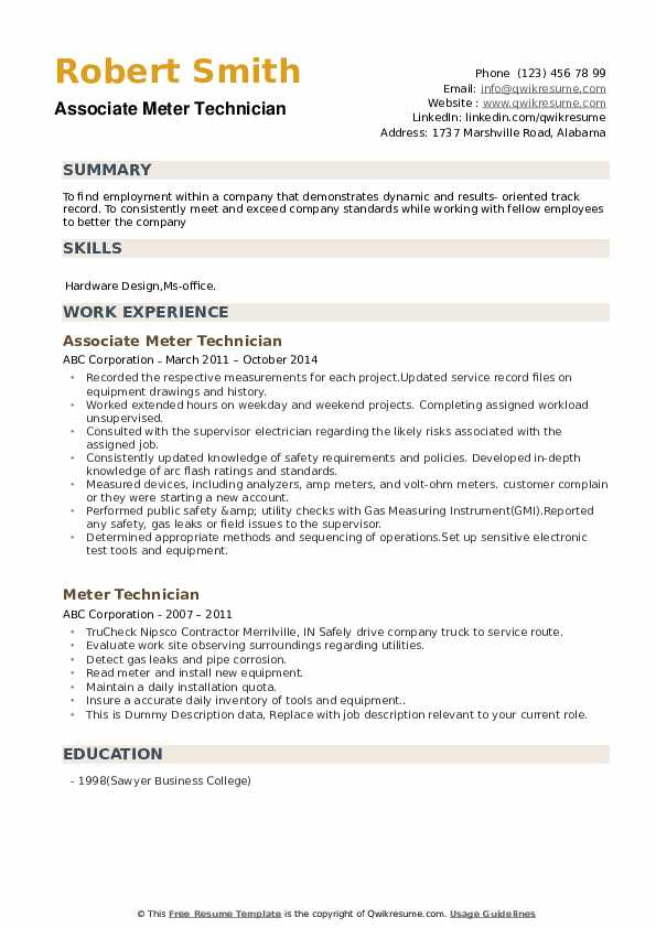 Associate Meter Technician Resume Format