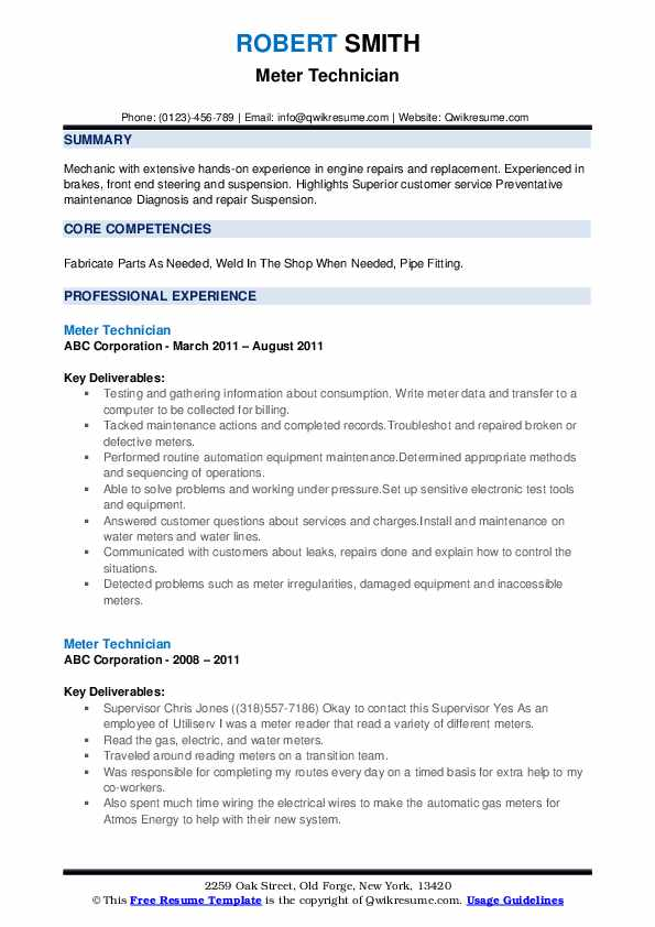 Meter Technician Resume example