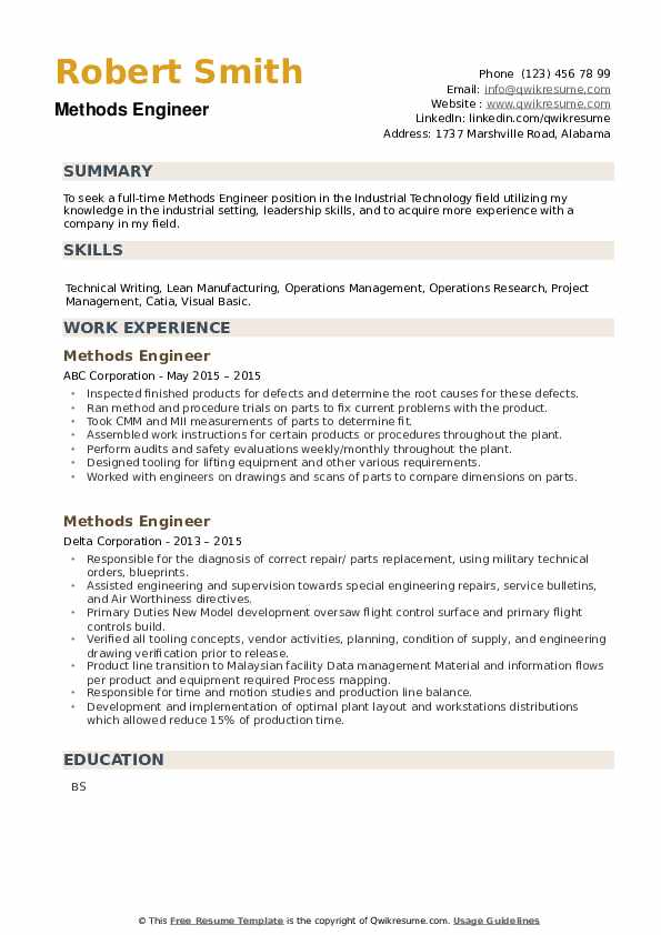 Methods Engineer Resume example