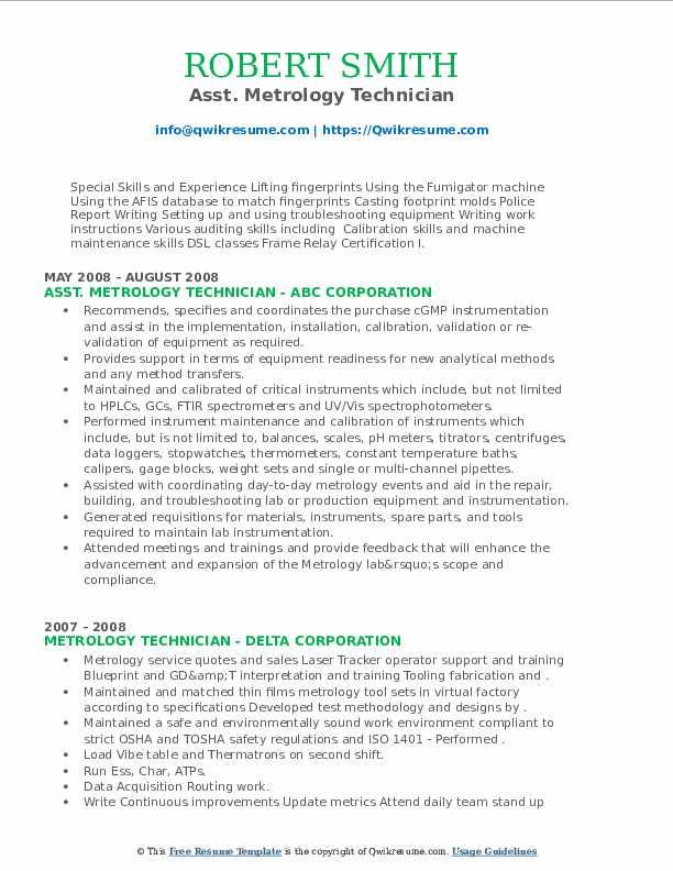 metrology technician resume samples  qwikresume