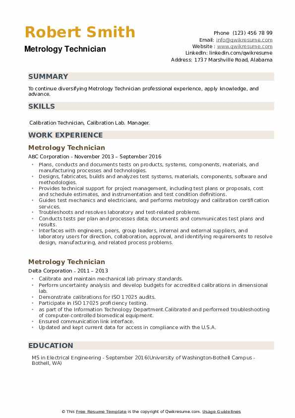 Metrology Technician Resume example