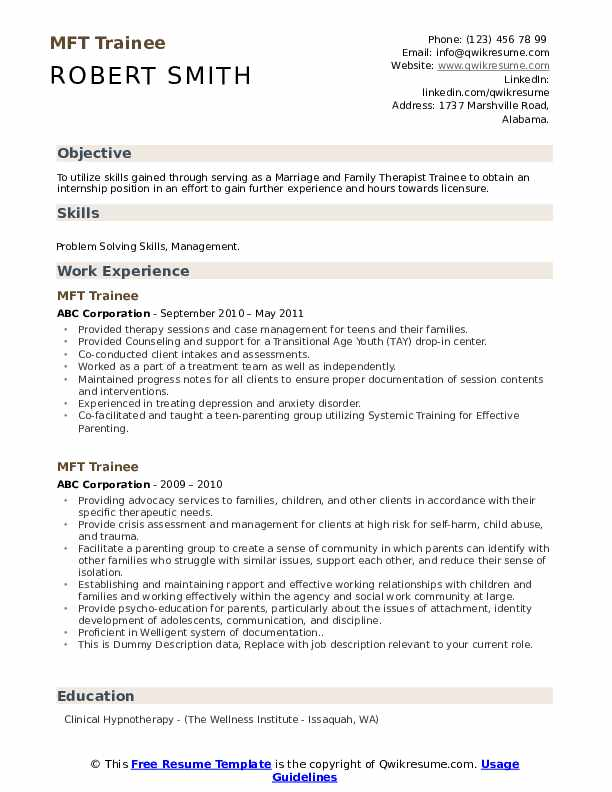 MFT Trainee Resume example