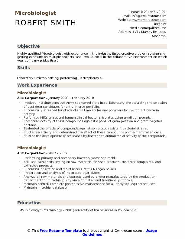 Microbiologist Resume Samples Qwikresume