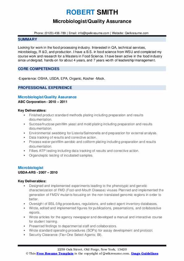 Microbiologist/Quality Assurance Resume Model