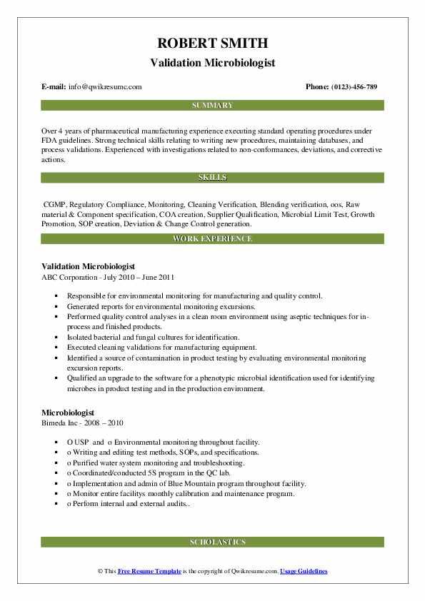 Validation Microbiologist Resume Model