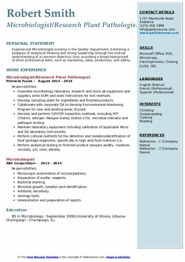 Microbiologist/Research Plant Pathologist Resume Example