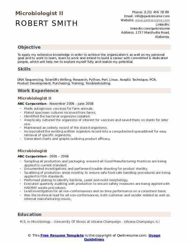 Microbiologist II Resume Sample