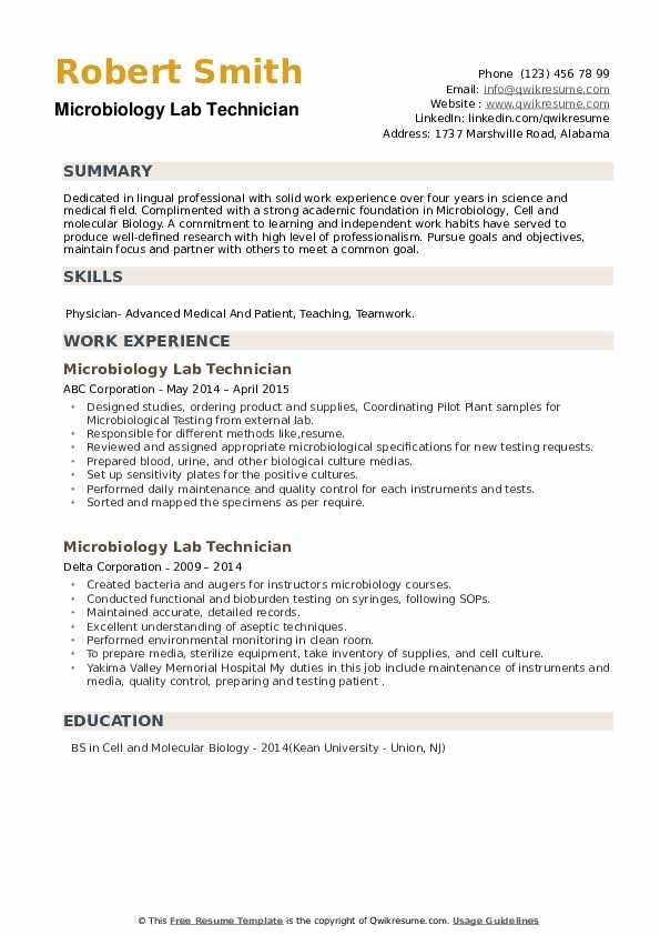 Microbiology Lab Technician Resume example