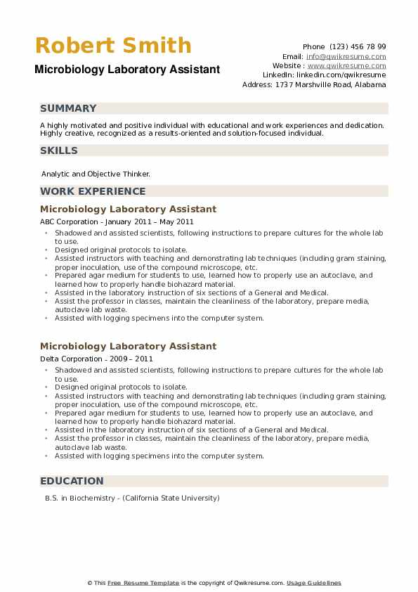 Microbiology Laboratory Assistant Resume example