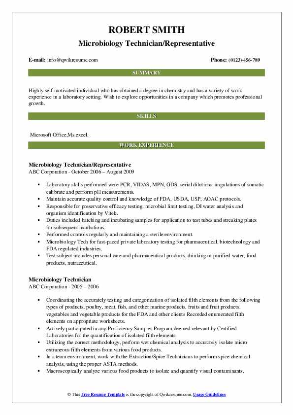 Microbiology Technician Resume Samples Qwikresume