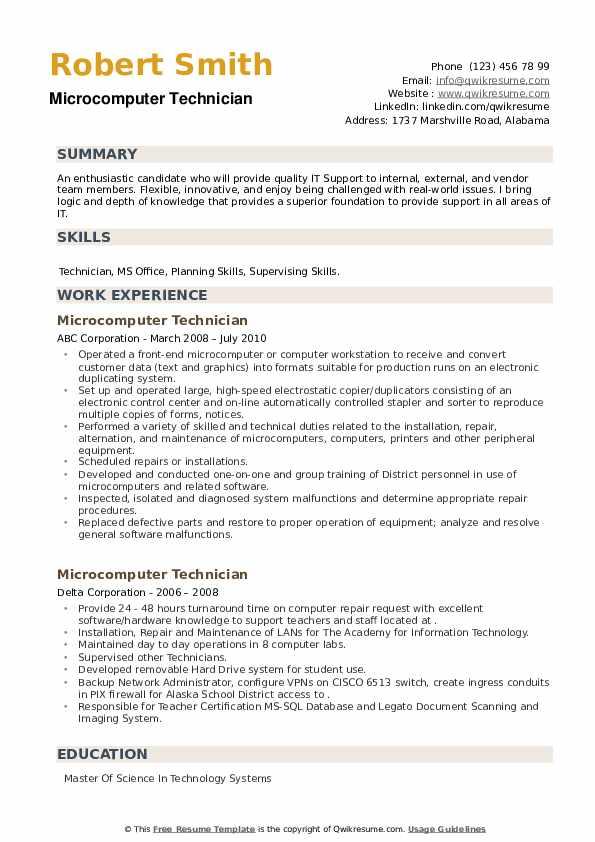 Microcomputer Technician Resume example