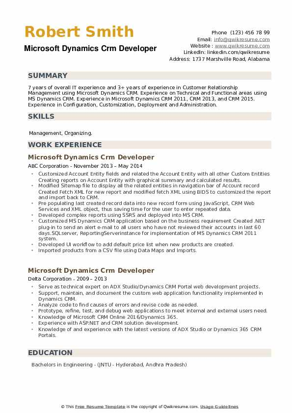 Microsoft Dynamics CRM Developer Resume example