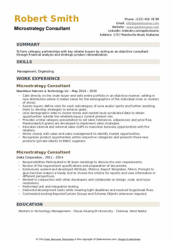 Microstrategy Consultant Resume example