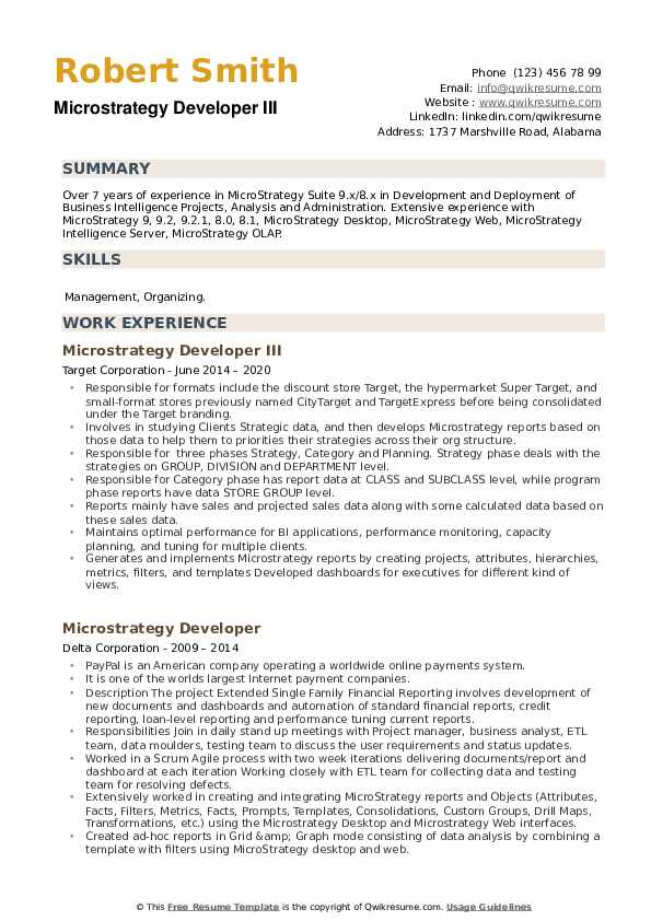 Microstrategy Developer Resume example