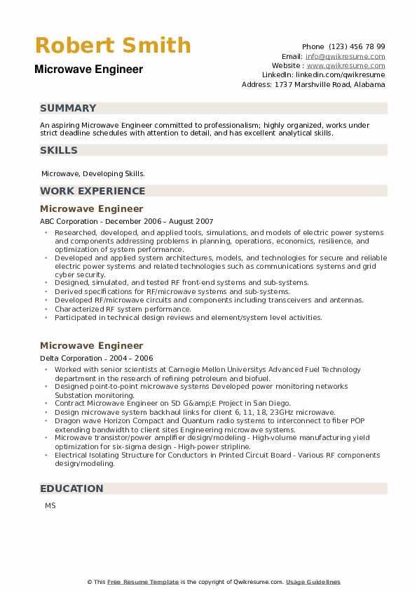 Microwave Engineer Resume example