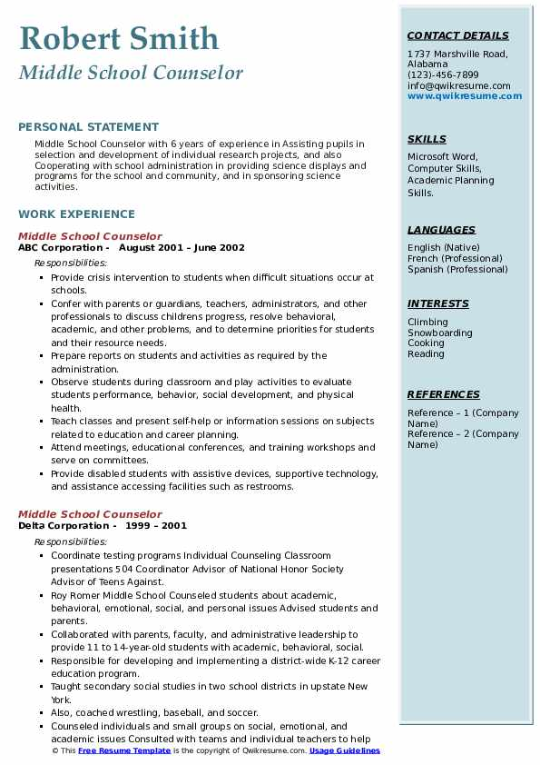middle school counselor resume samples  qwikresume
