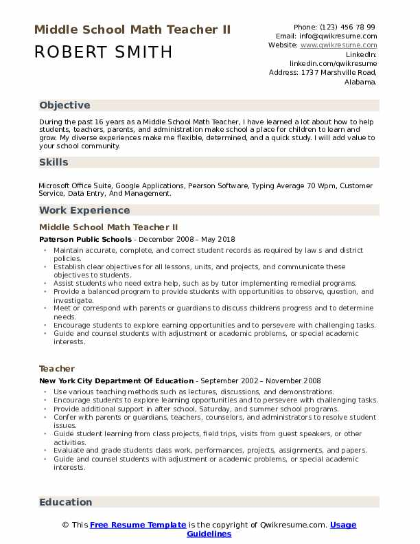 resume for math teacher