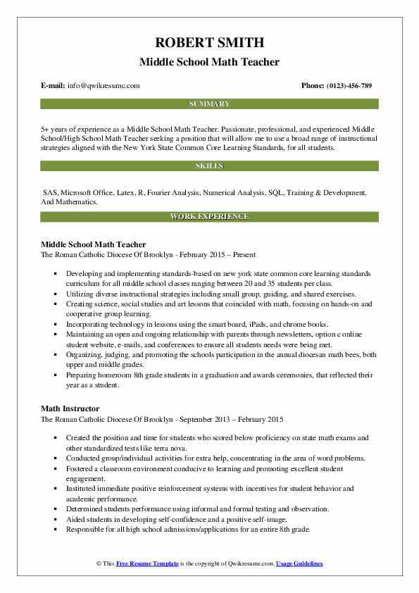 middle school math teacher resume samples