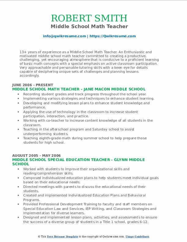Middle School Math Teacher Resume Format