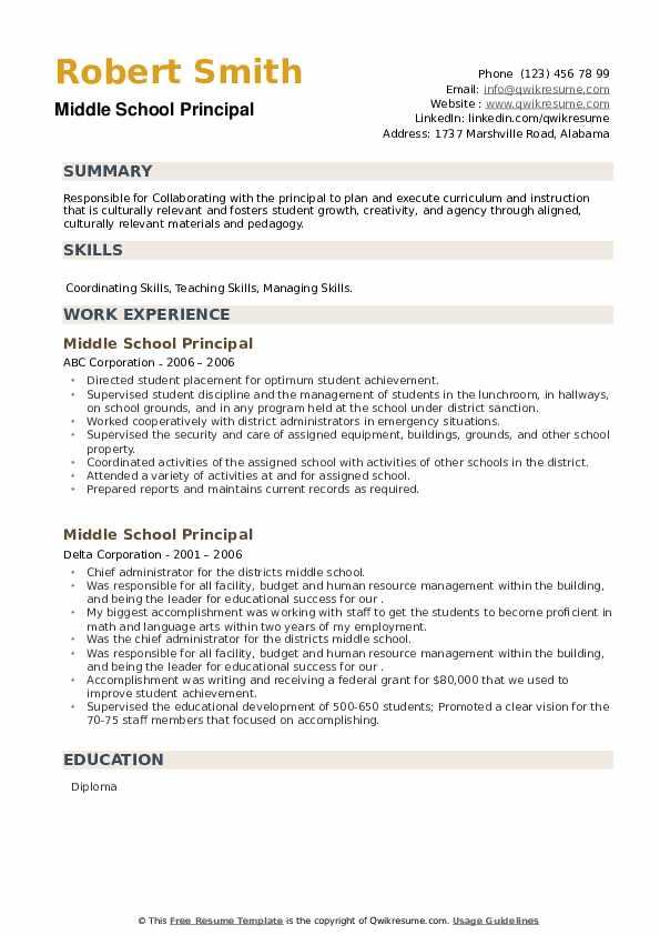 Middle School Principal Resume example