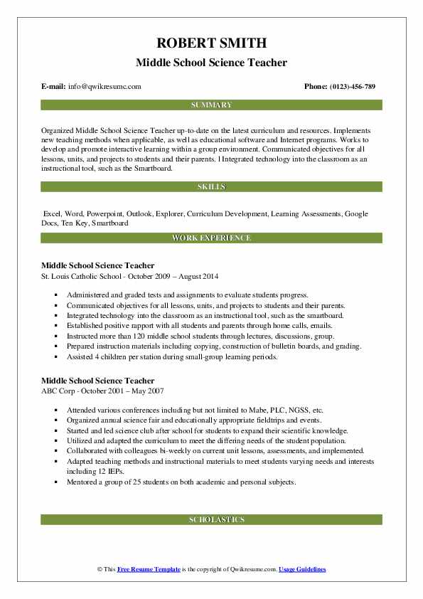 Middle School Science Teacher Resume Samples | QwikResume