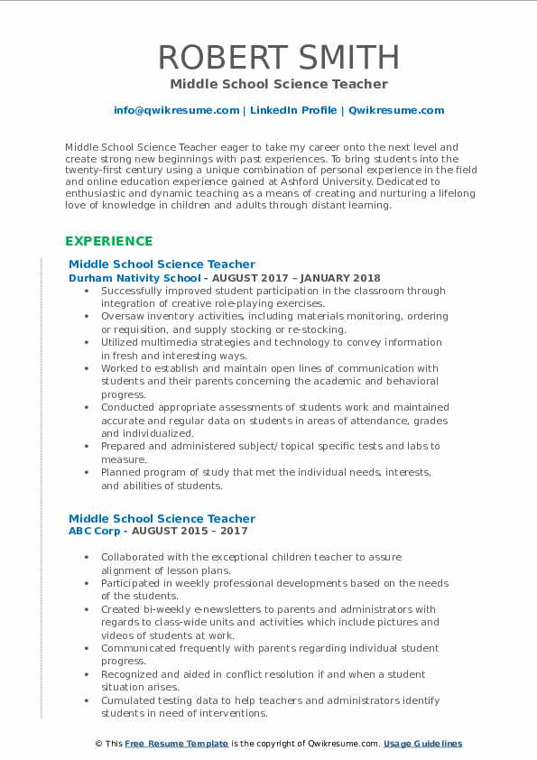 middle school science teacher resume samples