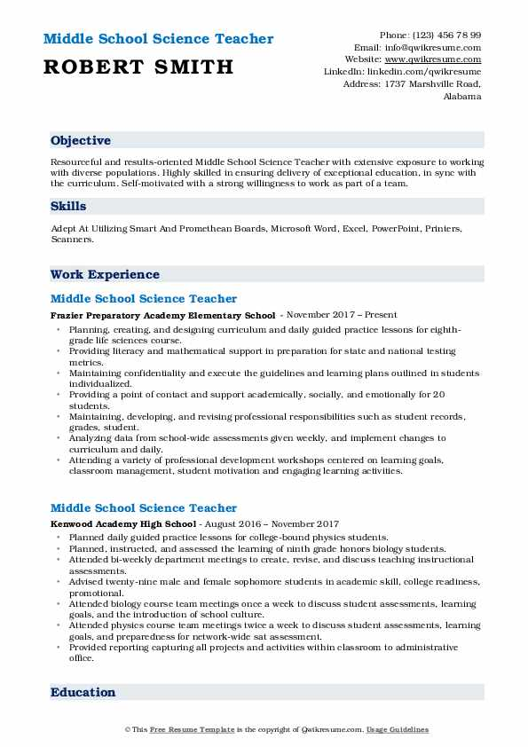 Middle School Science Teacher Resume Model