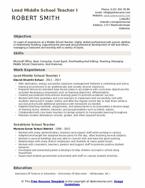 Lead Middle School Teacher I Resume Template