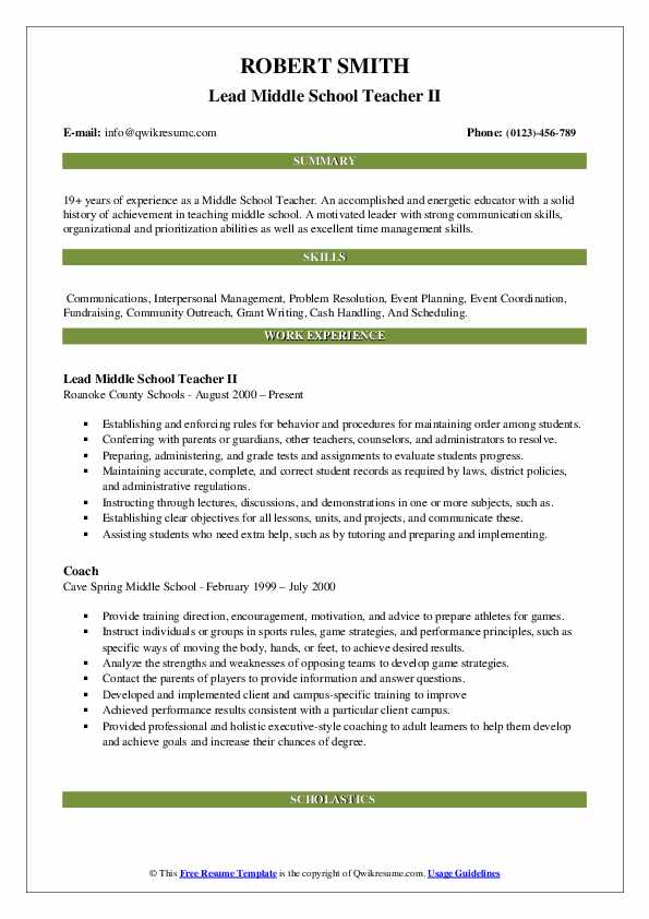 Lead Middle School Teacher II Resume Format