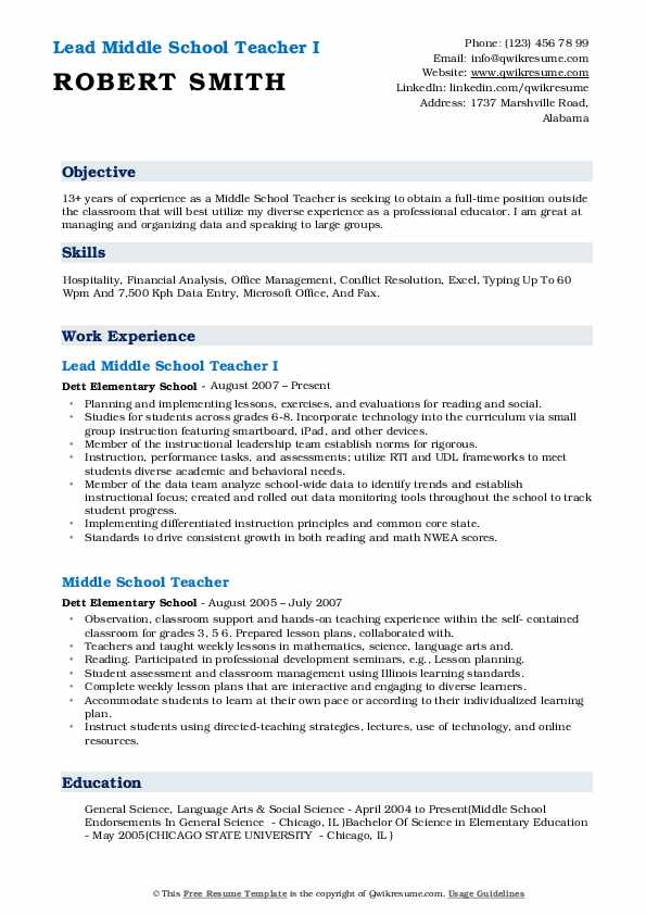 Lead Middle School Teacher I Resume Format
