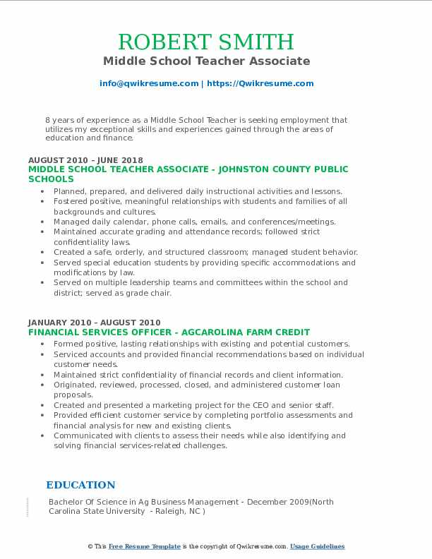 middle school teacher resume samples