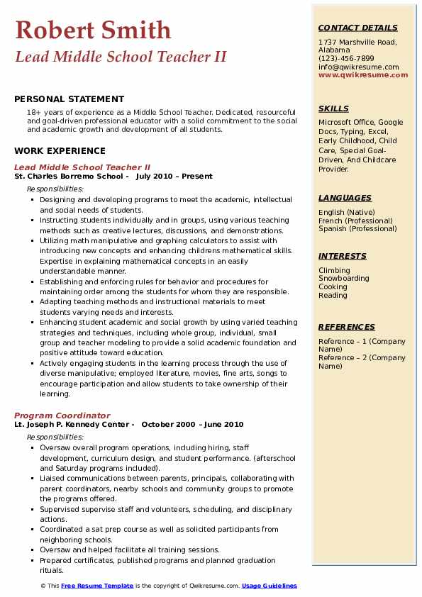 Lead Middle School Teacher II Resume Model