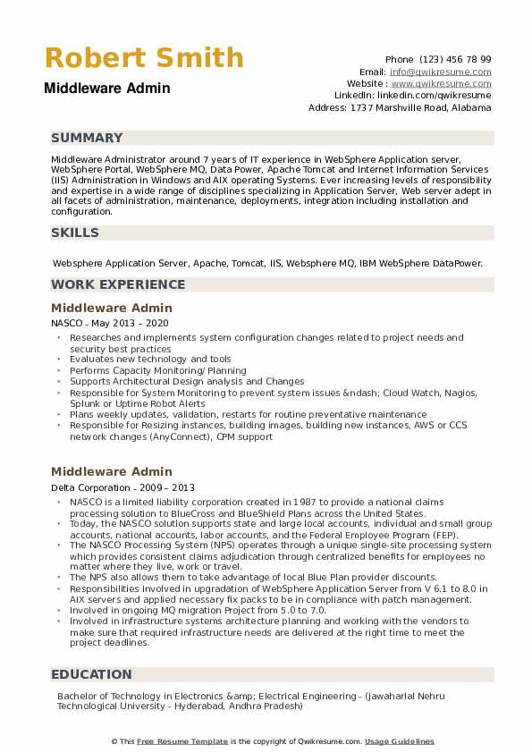 Middleware Admin Resume example