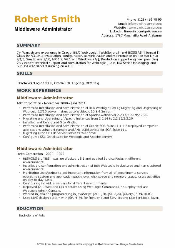 Middleware Administrator Resume example