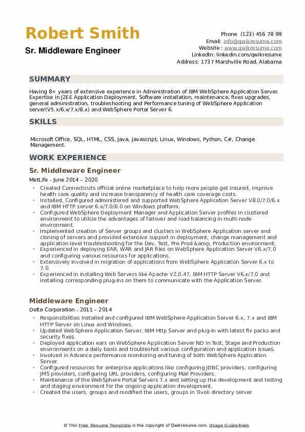 Middleware Engineer Resume example