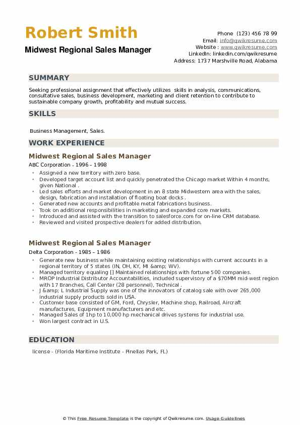 Midwest Regional Sales Manager Resume example