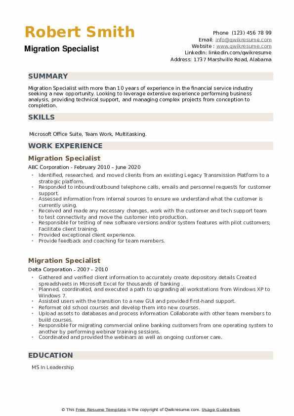 Migration Specialist Resume example