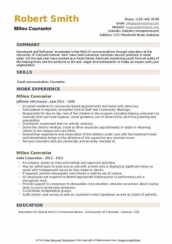 Milieu Counselor Resume example