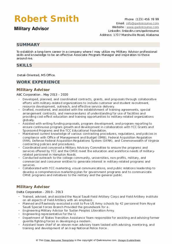 Military Advisor Resume example