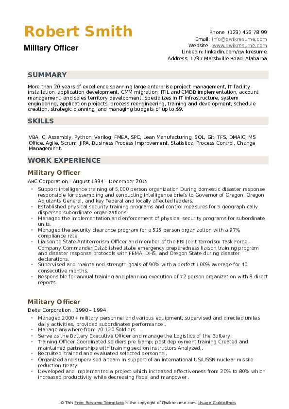 Military Officer Resume example
