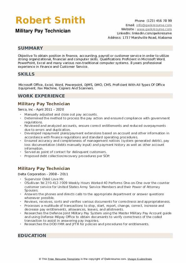 Military Pay Technician Resume example